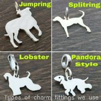 German Shepherd Heart Charm silhouette solid sterling silver Handmade in the Uk